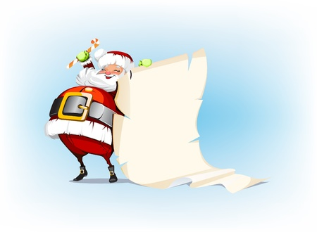 Santa Claus holding candy and standing beside scroll Vector