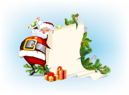 Santa Claus holding candy and standing beside the scroll for gifts Vector