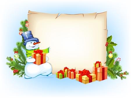 boule de neige: bonhomme de neige avec vide sur fond blanc horizontale avec sapin de No�l