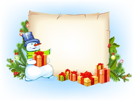 joyeux: snowman with empty blank on horizontal background with christmas fir tree Illustration