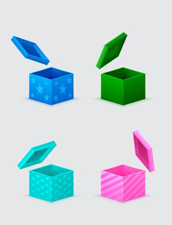 four gift boxes and flying cover over them Vector