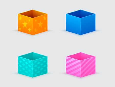 four gift boxes of orange, blue, turquoise, pink color Vector