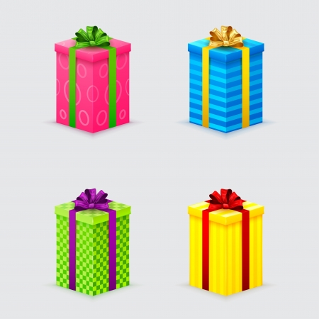 wrapped gift: four unopened gift boxes with ribbons and bows with lids