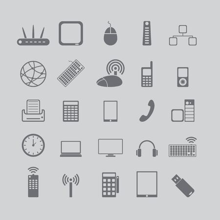 computer devices: icons for media and cell phones
