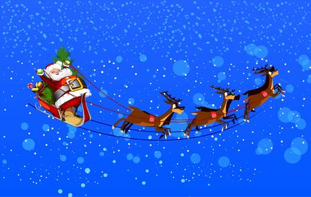 background with Santa Claus flying his sleigh through the night sky Vector