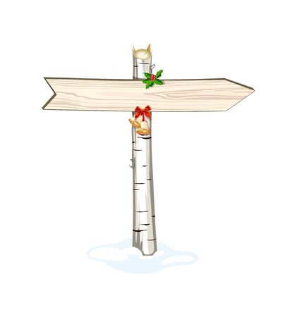 Christmas wooden arrow sign, isolated Vector