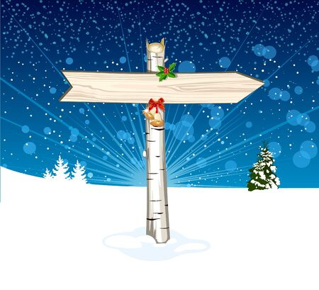 Christmas wooden arrow sign Stock Vector - 16712177