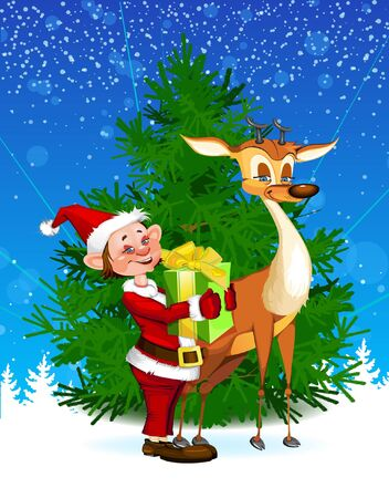 Reindeer & Elf by Christmas Tree Stock Vector - 16712231