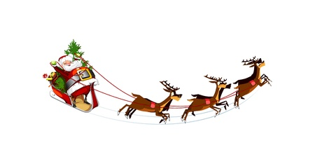 white background with Santa Claus flying his sleigh
