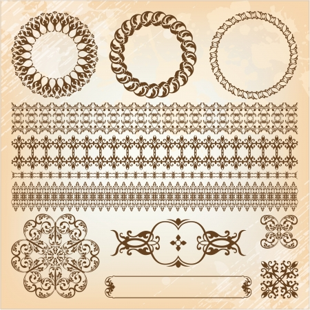 collection of beautiful vintage elements for design  Illustration