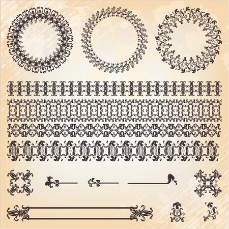collection of vintage floral pattern elements  Vector