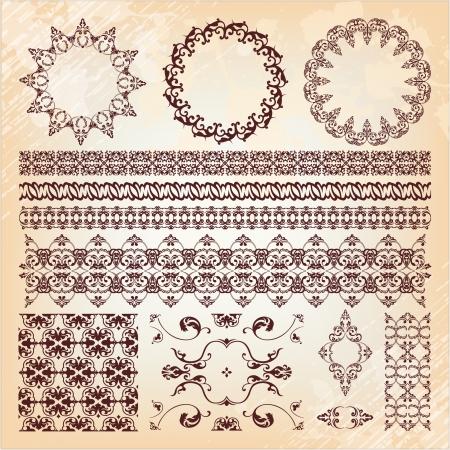set of beautiful vintage elements of design Illustration