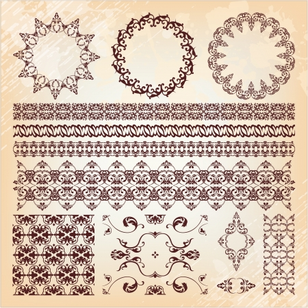 in islamic art: set of beautiful vintage elements of design Illustration