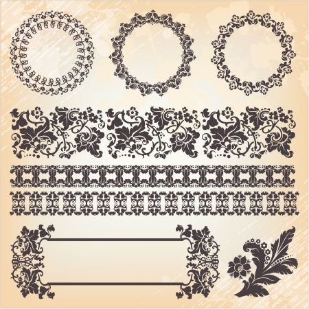set of ornate page decor elements: borders, banner, dividers, ornaments and patterns Vector