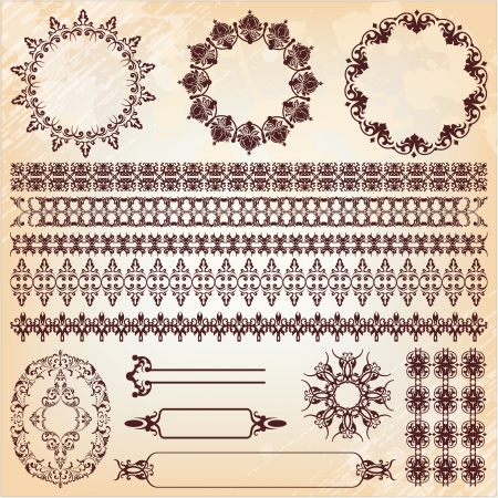 set of vintage floral pattern design elements Vector