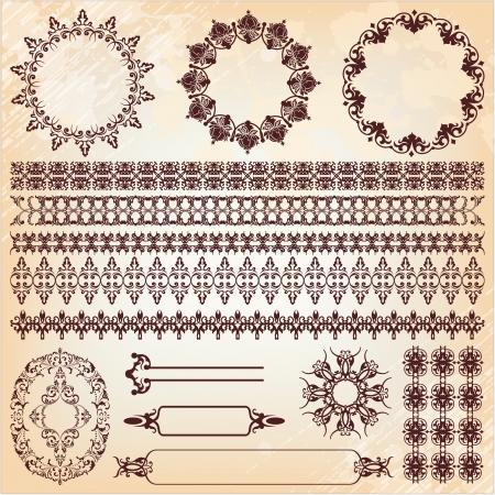 islamic pattern: set of vintage floral pattern design elements Illustration