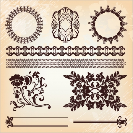set of vintage floral pattern elements  Vector
