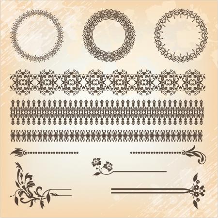 vintage floral pattern elements set