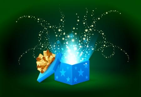 goldy: luz hermosa magia resplandeciente de una caja de regalo azul Vectores