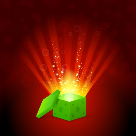 package design: beautiful magic light shining from a green gift box