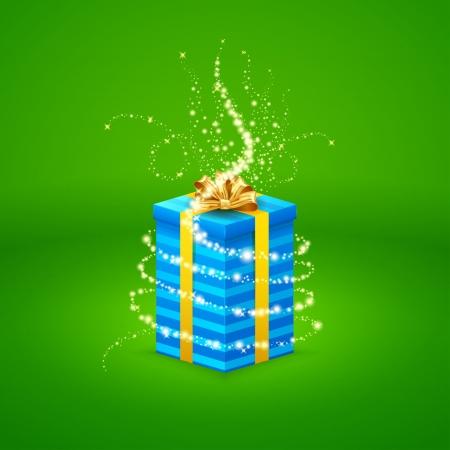 goldy: luz m�gica proviene de una hermosa caja de regalo cerrada Vectores