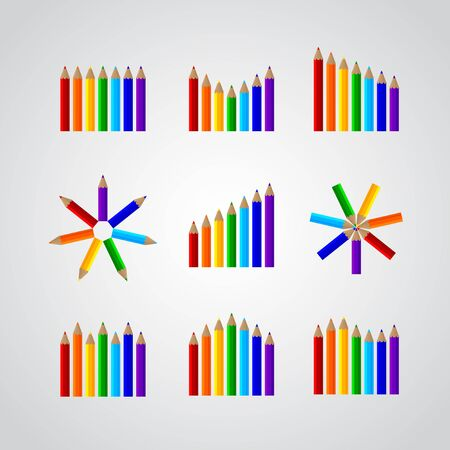 charts in the form of pencils Stock Vector - 16956645