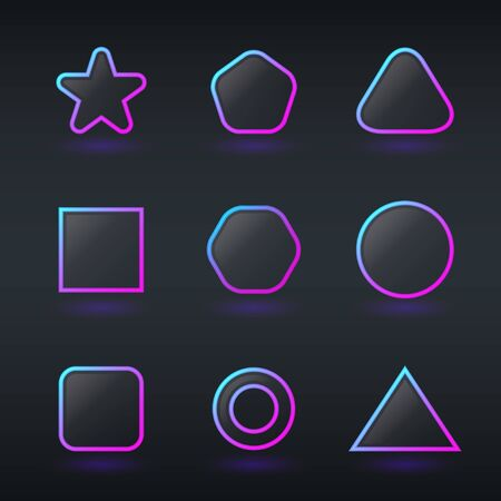 fluorescent neon geometric shapes buttons Vector