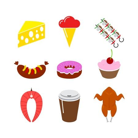 fruitcake: food icon set. Isolated on a white background Illustration