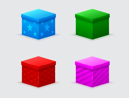 four closed gift boxes of green, blue, red, pink color  Vector