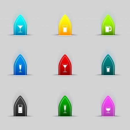 Glass icon set Stock Vector - 16956618