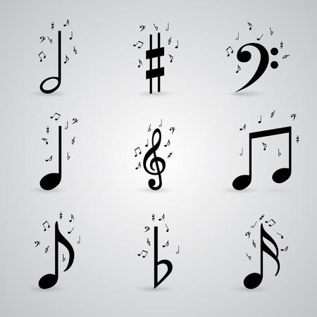 clave de sol: Icons set nota de la música Vectores