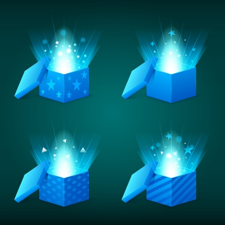 magical light coming out of the blue gift boxes Vector