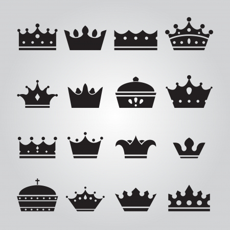 Set of Crowns Icons Vettoriali