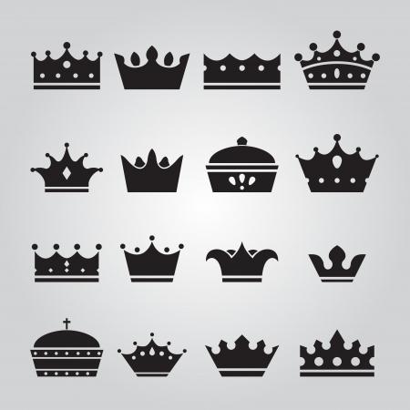 Set of Crowns Icons Stock Illustratie