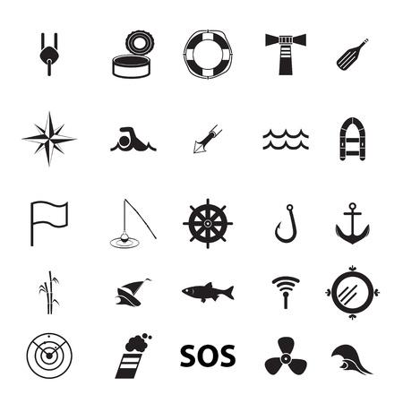 sonar: set di icone sul tema della pesca e del mare Vettoriali