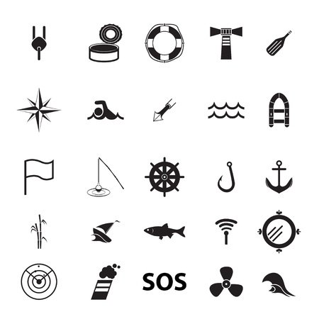 floater: set of icons on the theme of fishing and the sea