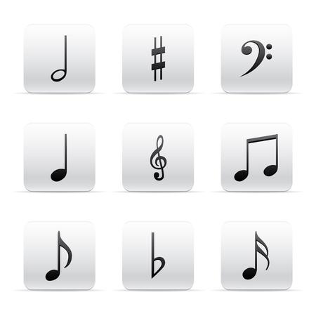half note: Set of Music Notes  Illustration