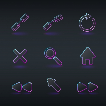 technology icons and signs in modern neon style for browser application Stock Vector - 16956680