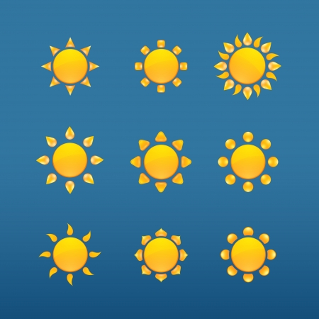 Yellow sun vector icons isolated on blue background Stock Vector - 16956676