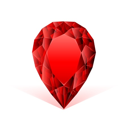 ruby gemstone: ruby face against white background