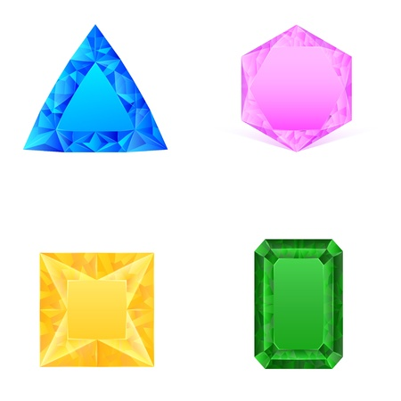 emerald gemstone: set of blue pink yellow green jewels