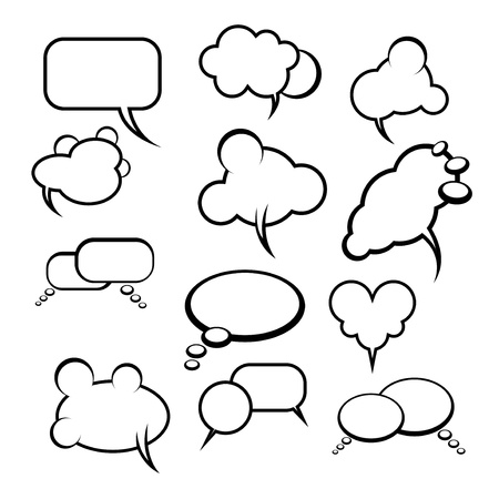halfone: Comics style speech bubbles   balloons on background Illustration