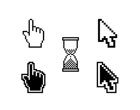white pointer: set of different cursors