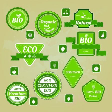 Collection of bio and eco organic labels natural products Stock Vector - 17385309