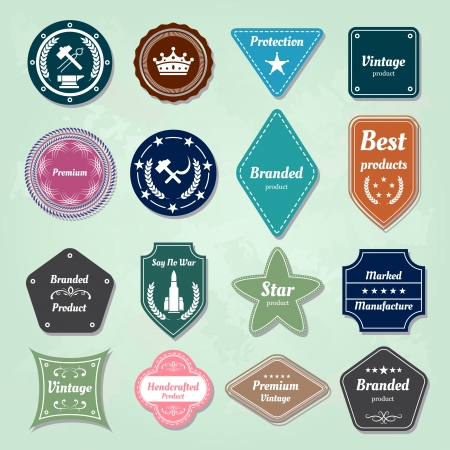 branded product: Set of  badges and labels logo