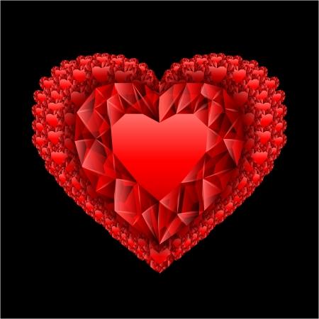 heart from many rubies Vector