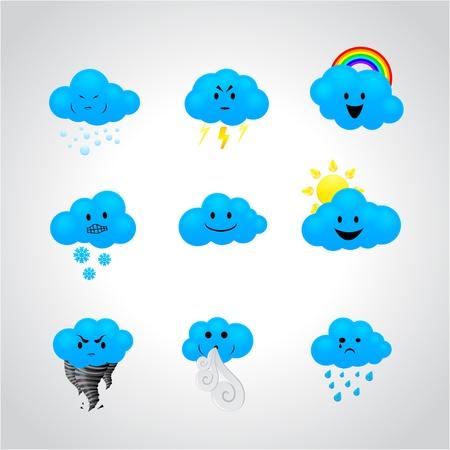 expresiones faciales: iconos con diferentes expresiones faciales Vectores