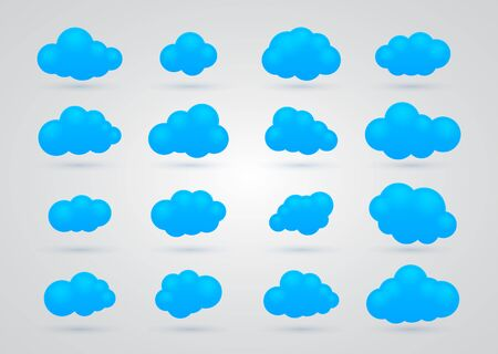 set of Blue clouds Stock Vector - 17670838