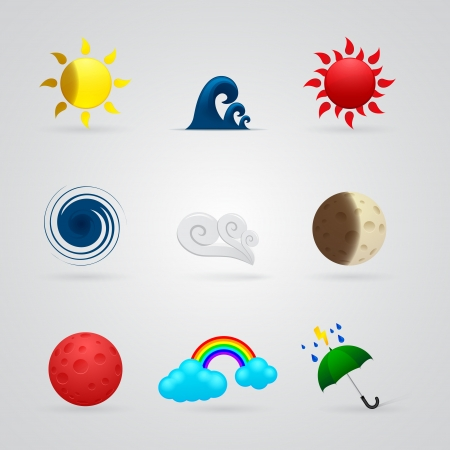 tsunami: set of color weather icons