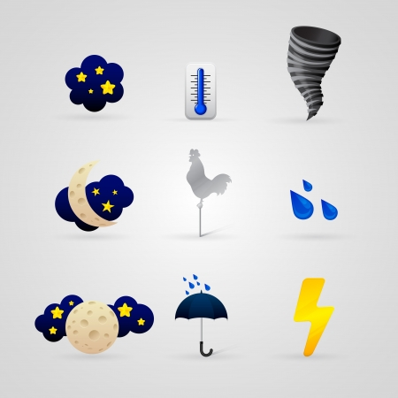 set of different color weather icons Stock Vector - 17670834